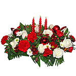 Exotic Christmas Red and White Arrangement with Candles