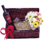 Fragrant Mini Flowers Arrangement and Brazilian Wine in a Box